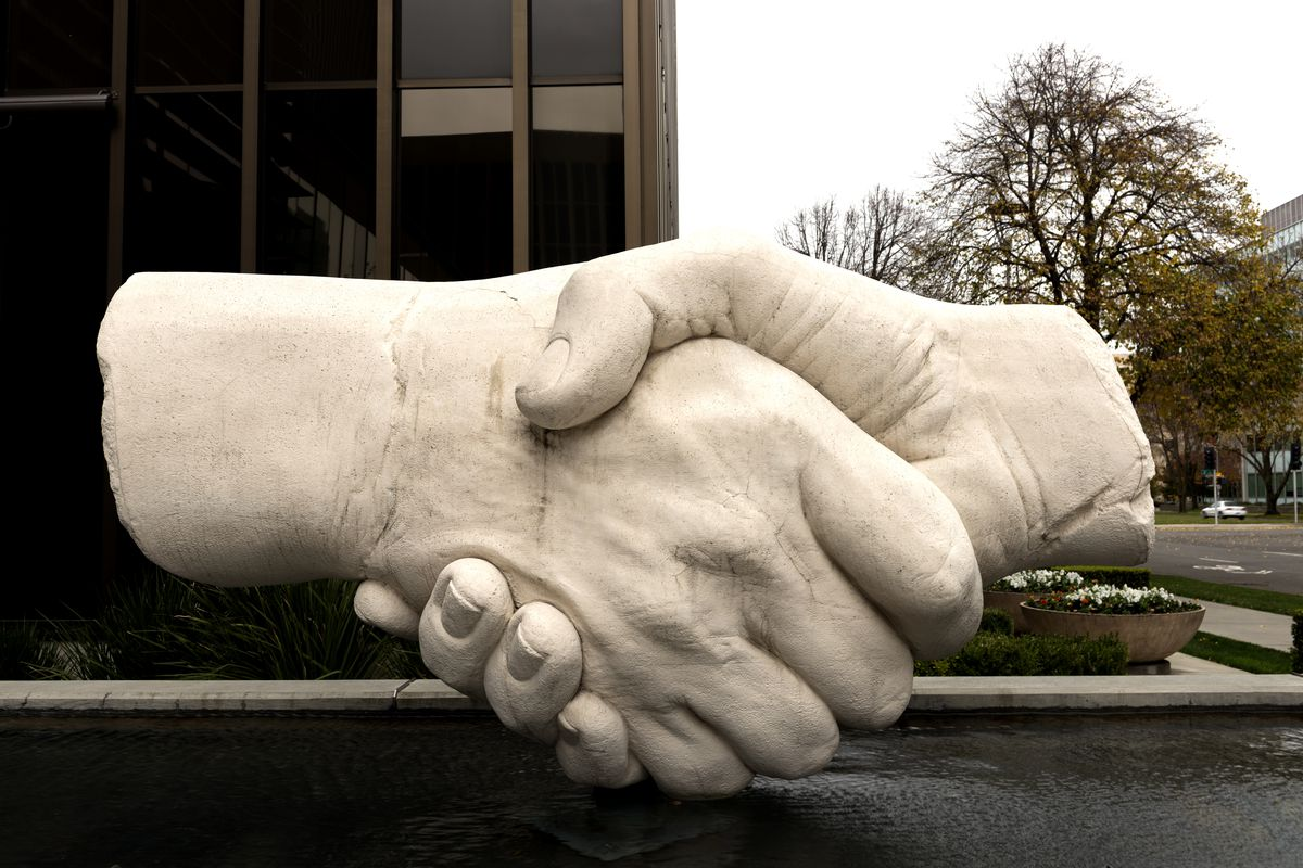 This sculpture of shaking hands near the Capitol Mall is one of Sacramento, California, most popular