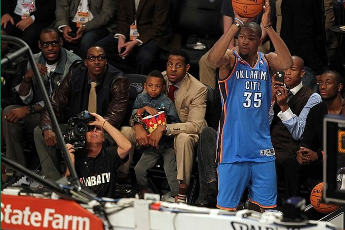 February 25, 2012; Orlando FL, USA; Kevin Durant of the Oklahoma City Thunder shoots during the 2012 NBA All-Star Three-Point Contest at the Amway Center. Mandatory Credit: Kim Klement-US PRESSWIRE