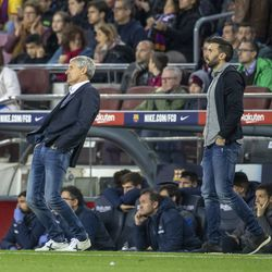 Setien and Sarabia watch Barca's Clasico draw