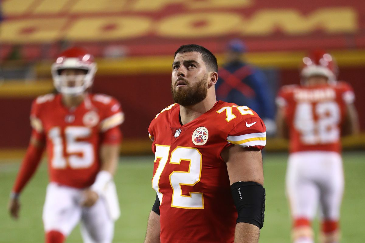 Eric Fisher of the Kansas City Chiefs looks on before the start of a game against the Houston Texans at Arrowhead Stadium on September 10, 2020 in Kansas City, Missouri.