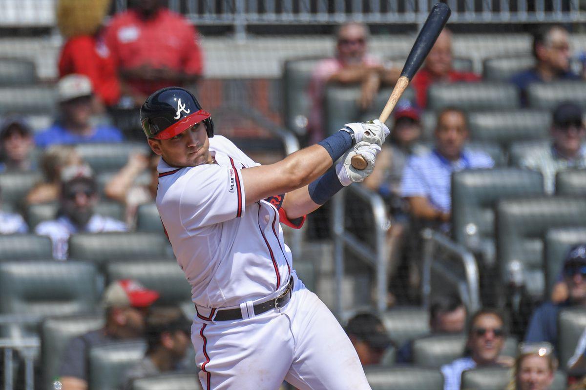 Atlanta Braves third baseman Austin Riley hits a home run against the Philadelphia Phillies during the sixth inning at SunTrust Park.