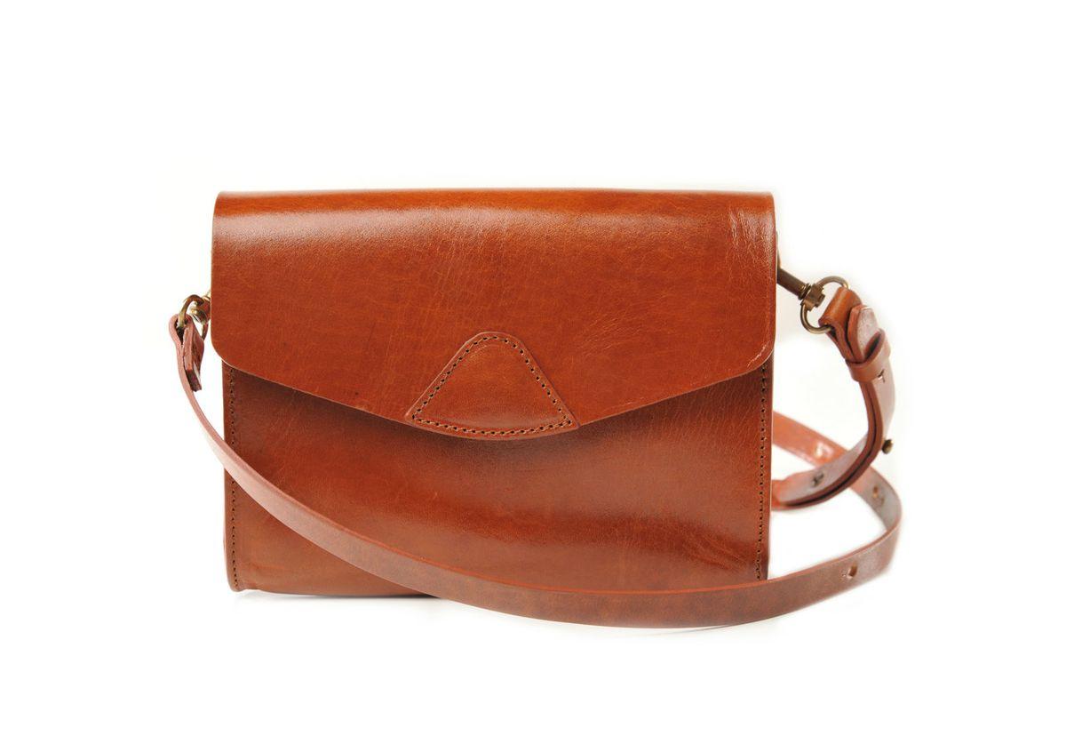 A brown crossbody bag