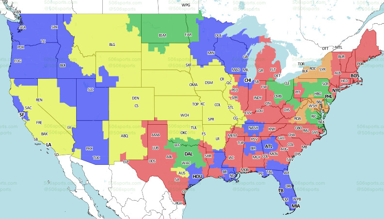 506Sports.com CBS Early Game Week 1 Map (Dolphins at Seahawks in blue)