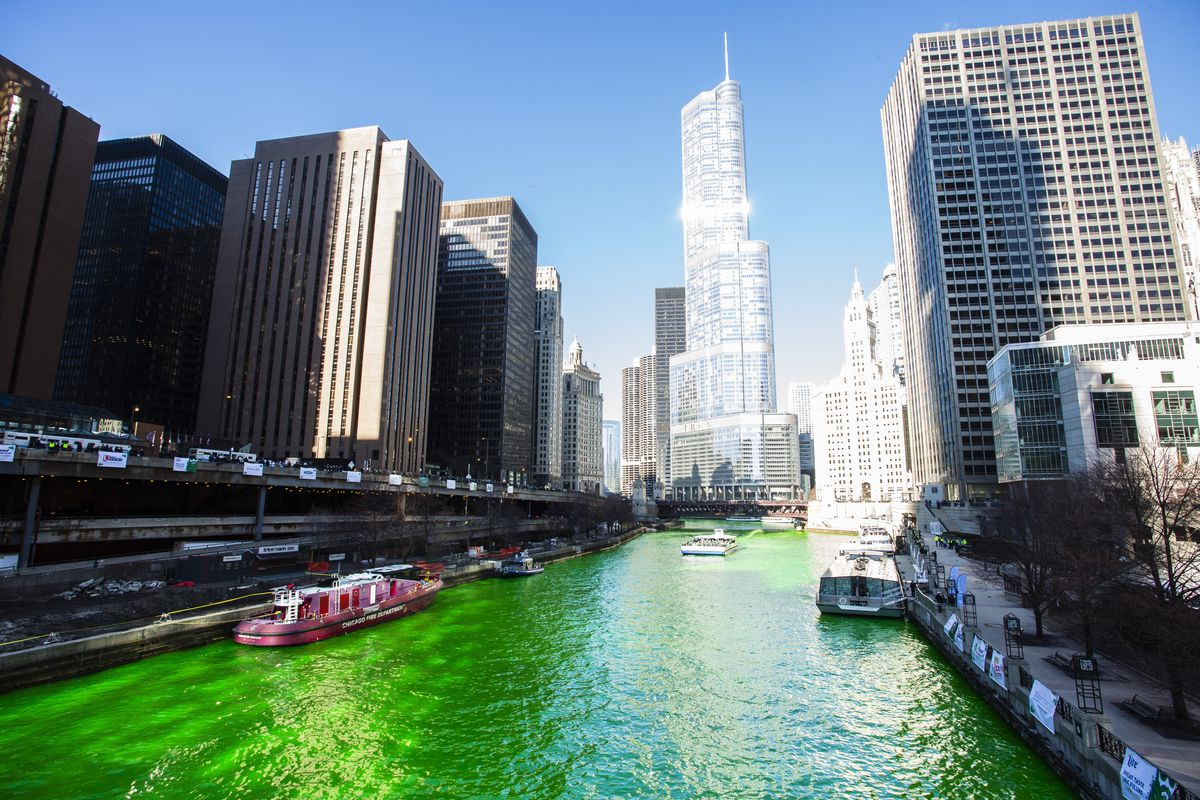 The Chicago River is dyed green to celebrate St. Patrick's in 2019 — the last time Chicagoans got to enjoy the tradition.