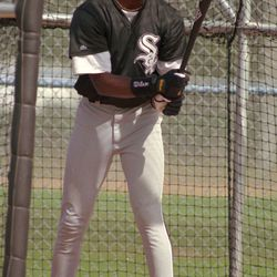 Michael Jordan works on his batting on the first day of the Chicago White Sox spring training camp Saturday, Feb. 18, 1995, in Sarasota, Fla.  Jordan supports the striking Chicago White Sox. As a minor leaguer, though, he doesn't want to get caught in the middle of the dispute. (AP Photo/Pat Sullivan) ORG XMIT: XSAR104