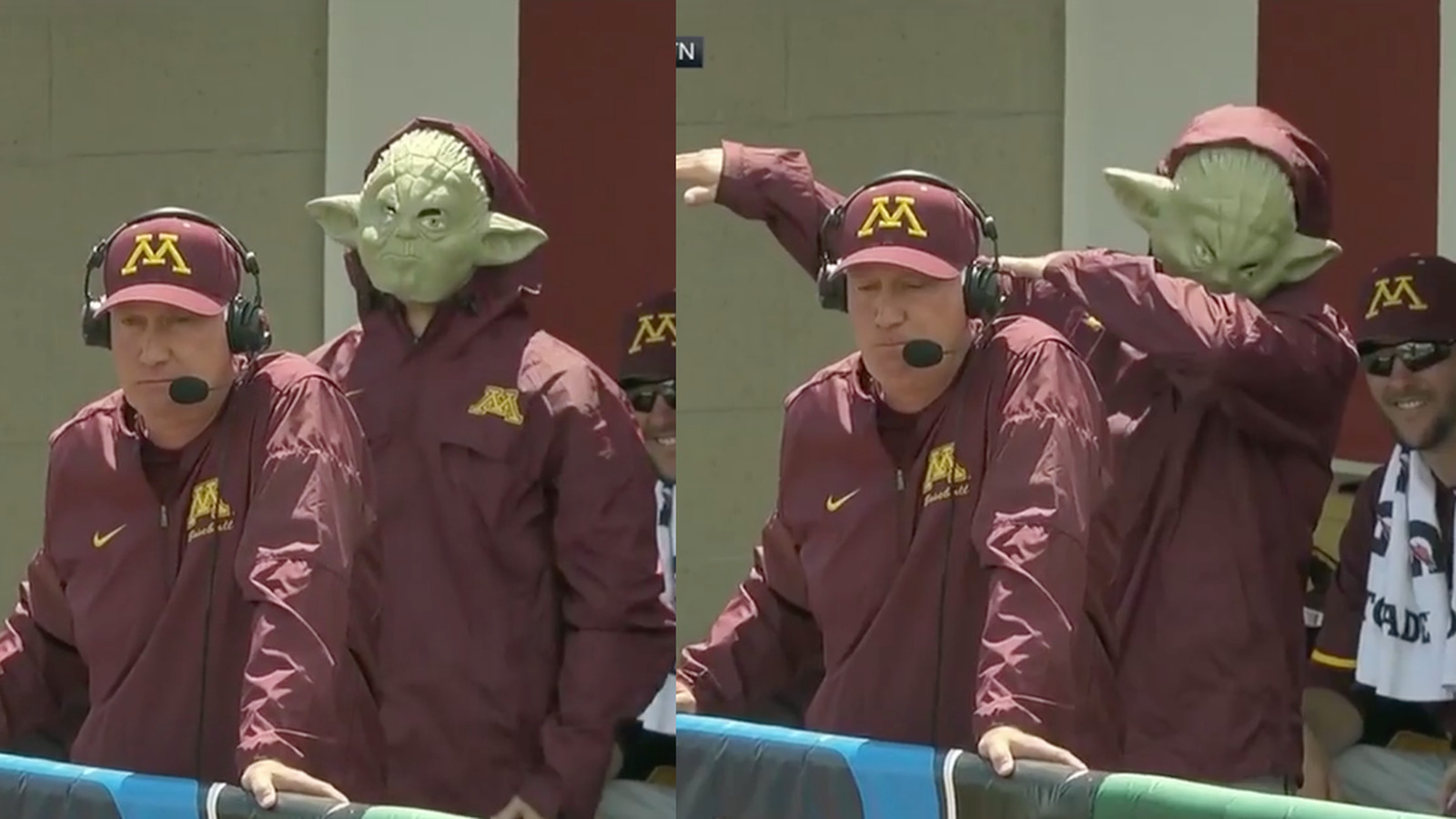 Baseball Coach Gets Videobombed By A Dabbing Yoda
