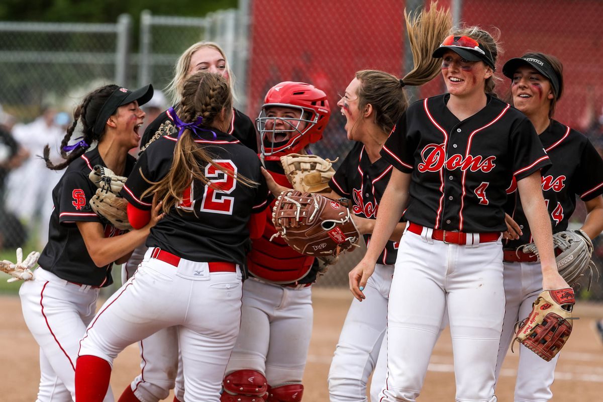 The Spanish Fork players celebrate during the 5A softball quarterfinals against Springville at Spanish Fork Sports Park in Spanish Fork on Tuesday, May 25, 2021.