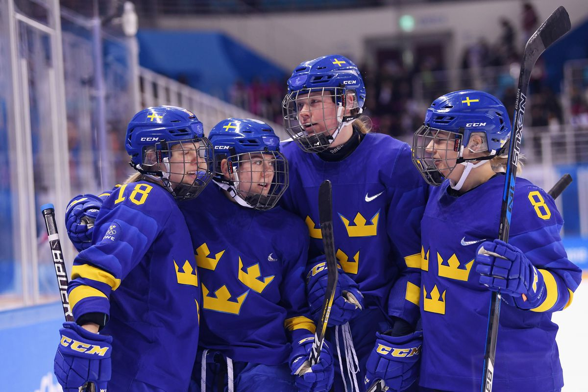 Lisa Johansson #15 of Sweden celebrates with teammates after scoring a third period goal against Korea at the PyeongChang 2018 Winter Olympic Games.