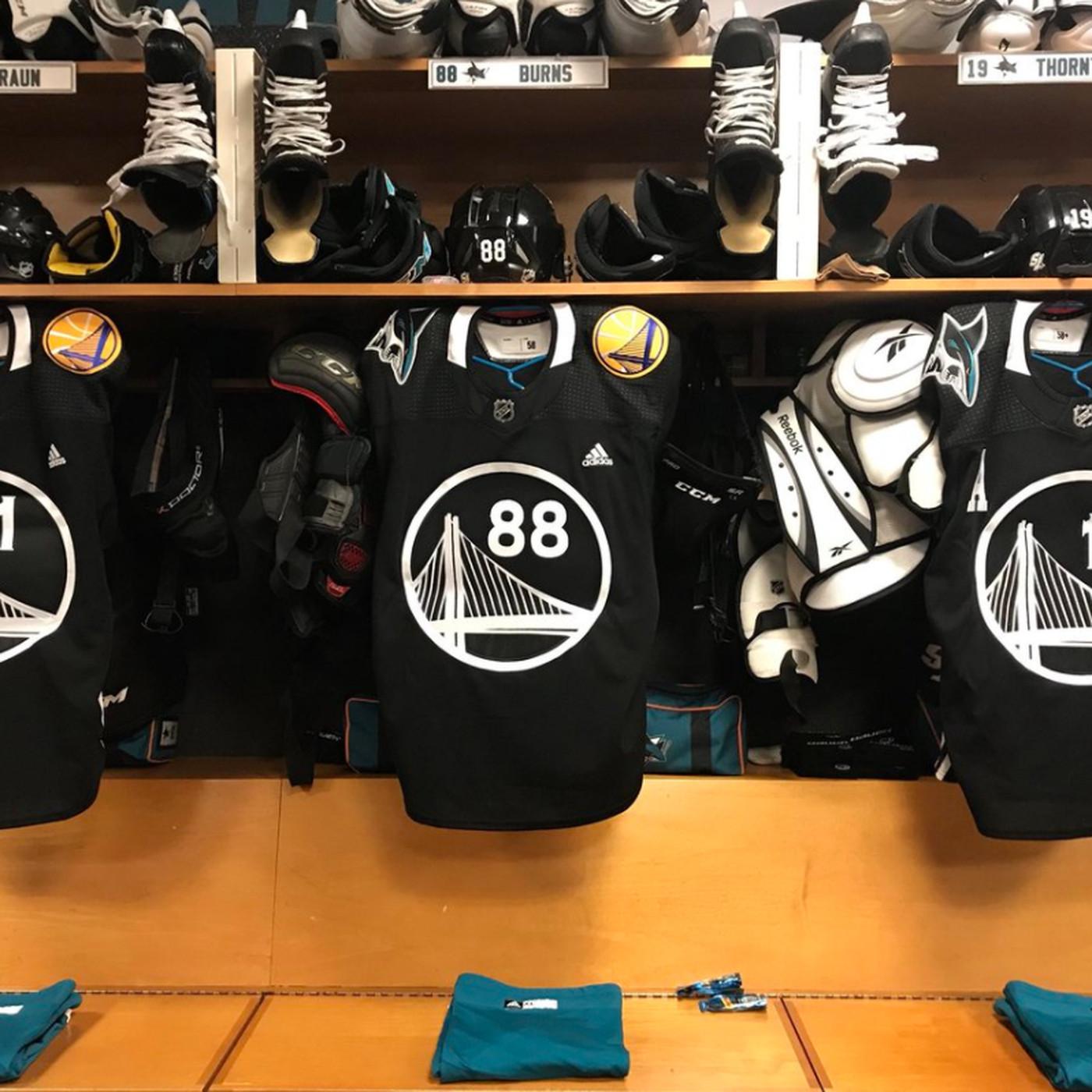 the latest c2214 959a7 San Jose Sharks wear Golden State Warriors inspired jerseys ...