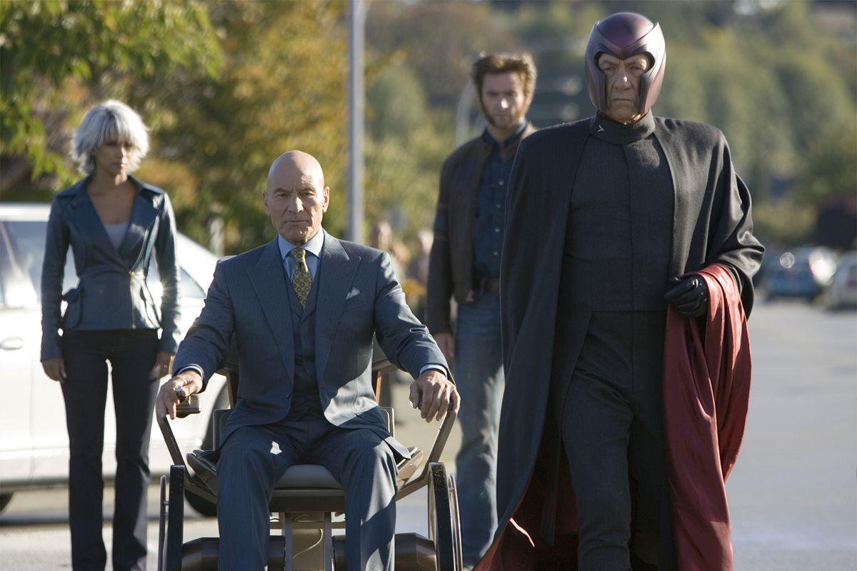 "Xmen3-22 Storm (Halle Berry), Xavier (Patrick Stewart), Wolverine (Hugh Jackman) and Magneto (Ian McKellen) arrive for a fateful encounter with Jean Grey in ""X-Men: The Final Stand."" KERRY HAYES, TWENTIETH CENTURY FOX"