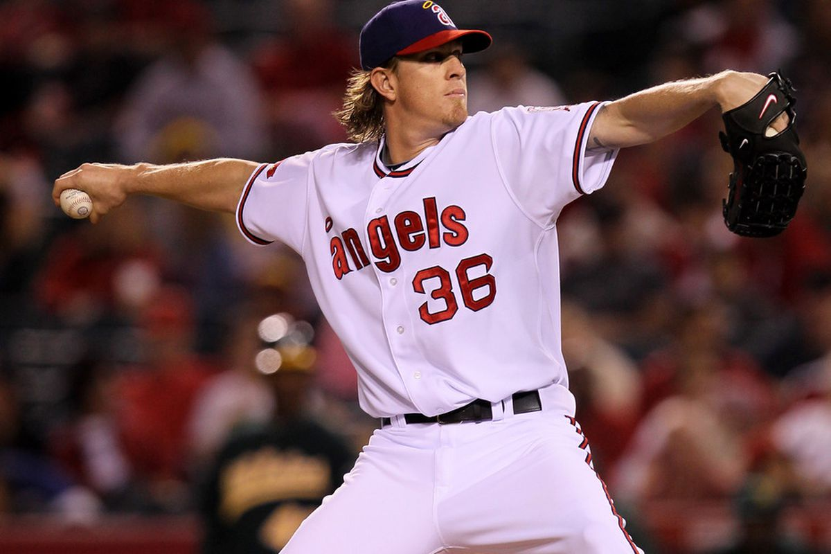 ANAHEIM, CA - SEPTEMBER 23:  Jered Weaver #36 of the Los Angeles Angels of Anaheim throws a pitch against the Oakland Athletics on September 23, 2011 at Angel Stadium in Anaheim, California.  (Photo by Stephen Dunn/Getty Images)