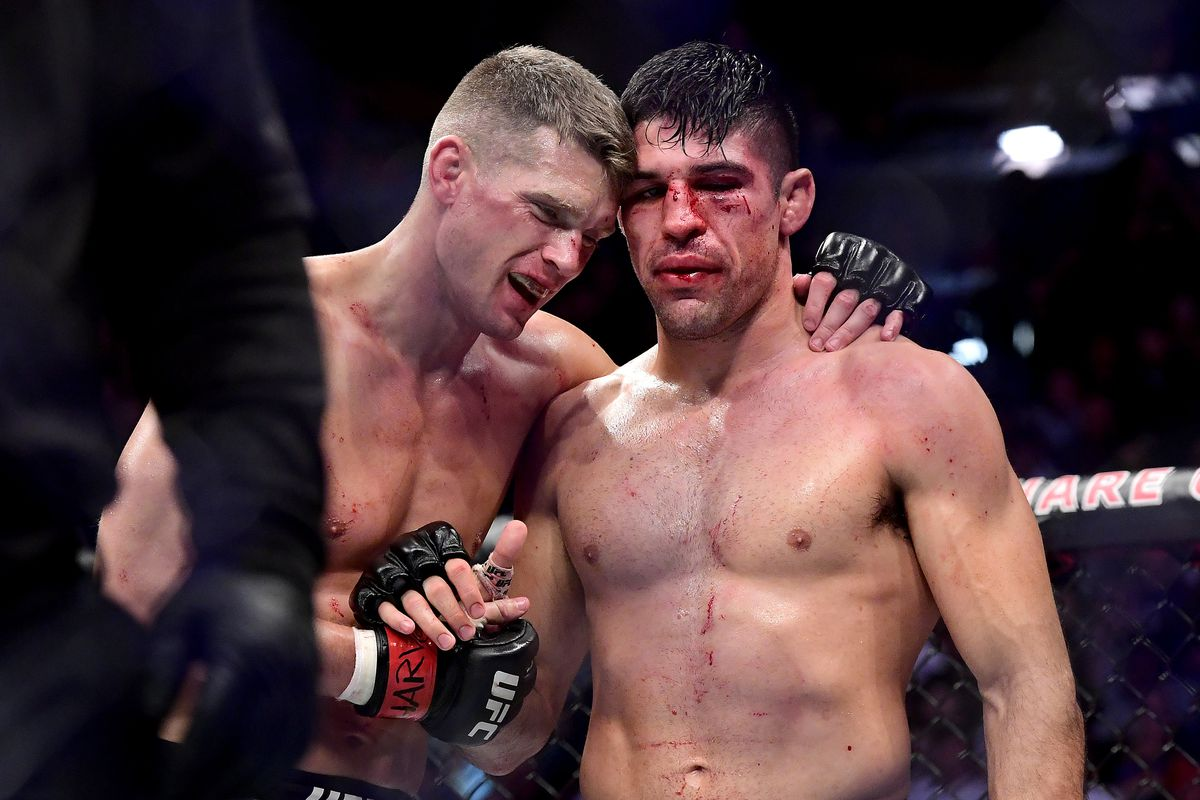 Stephen Thompson of the United States embraces Vicente Luque of the United States after their Welterweight bout during UFC 244 at Madison Square Garden on November 02, 2019 in New York City.