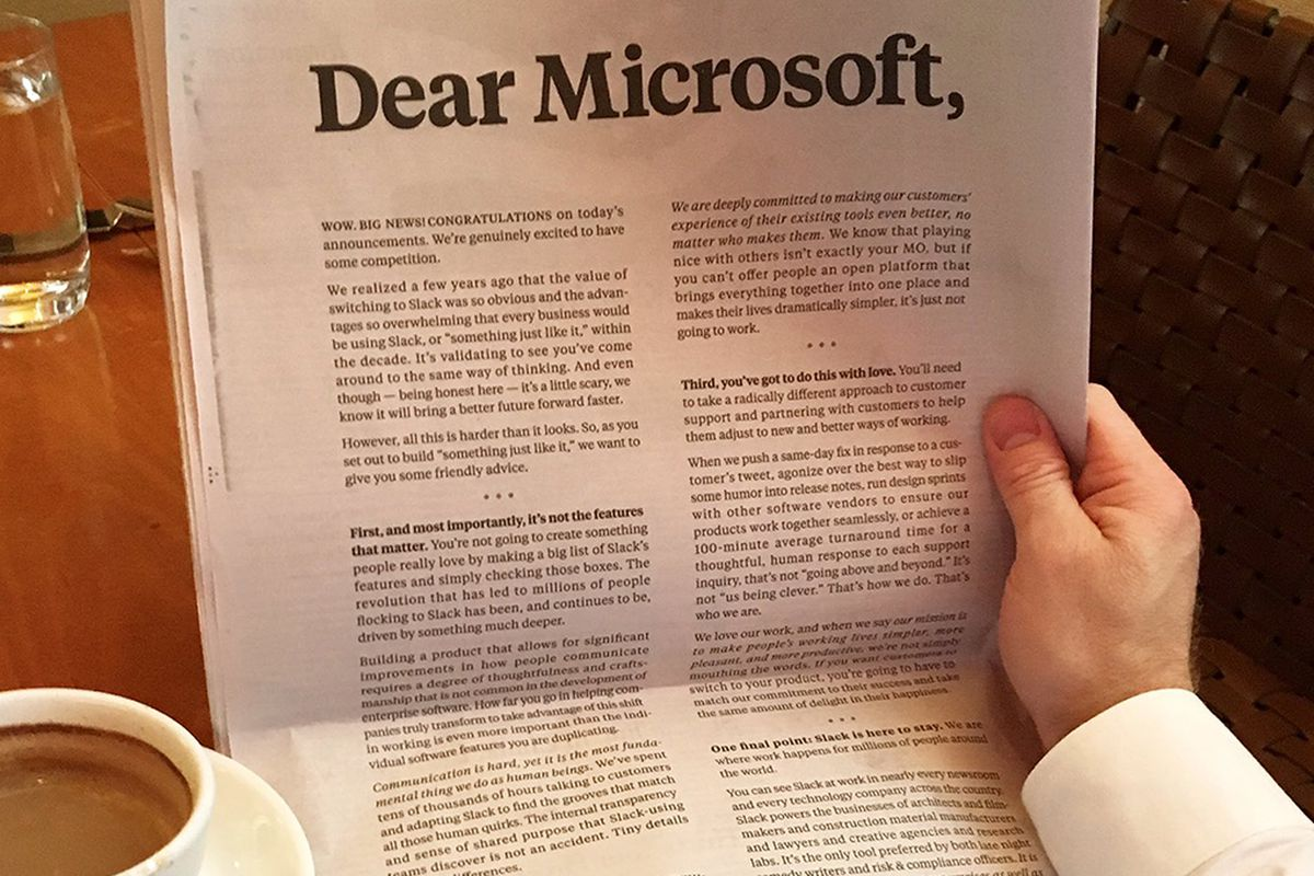 Slack shows it's worried about Microsoft Teams with a full page