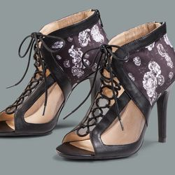 Lace-up heels in Meet the Parents print, $39.99