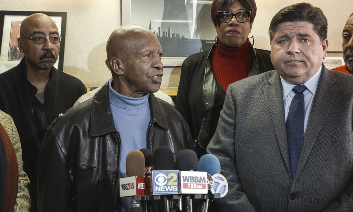 Secretary of State Jesse White and Democratic governor candidate J.B. Pritzker in 2018. File Photo.