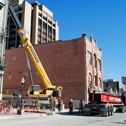 Odd Fellows Hall is moved across Market Street to provide room for the expansion of the Frank E. Moss Federal Court Building. The building now sits next to the New Yorker.