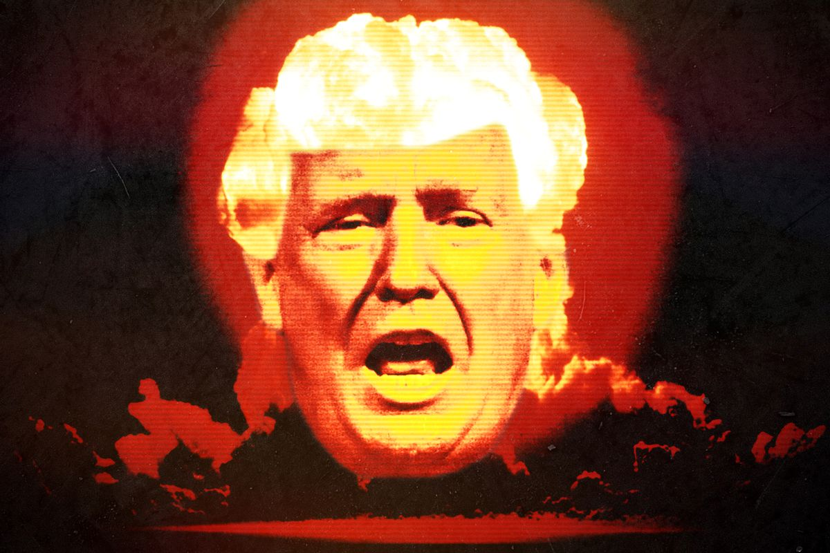 A photo illustration of a nuclear Donald Trump