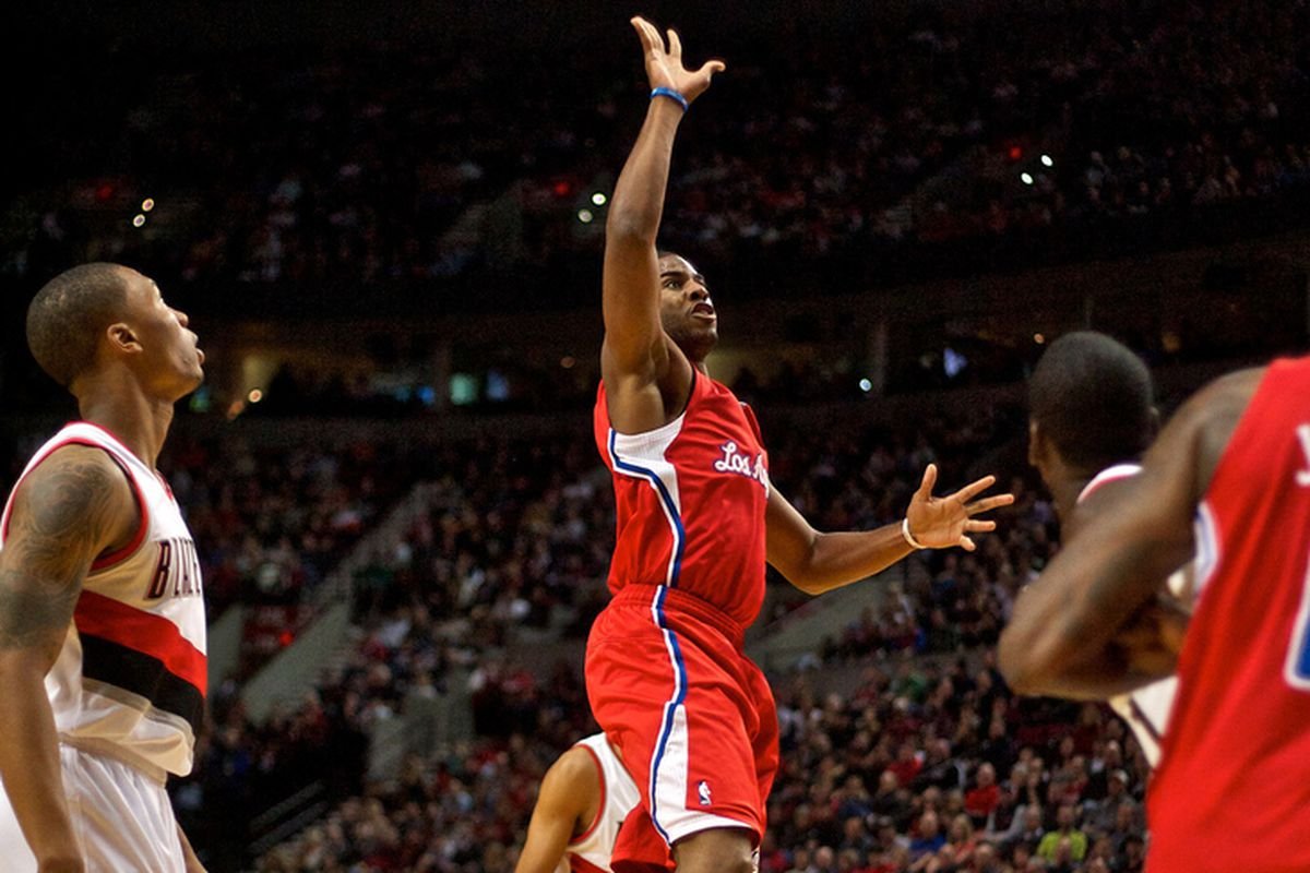 Nov 8, 2012; Portland, OR, USA; Los Angeles Clippers point guard Chris Paul (3) shoots against the Portland Trail Blazers at the Rose Garden.