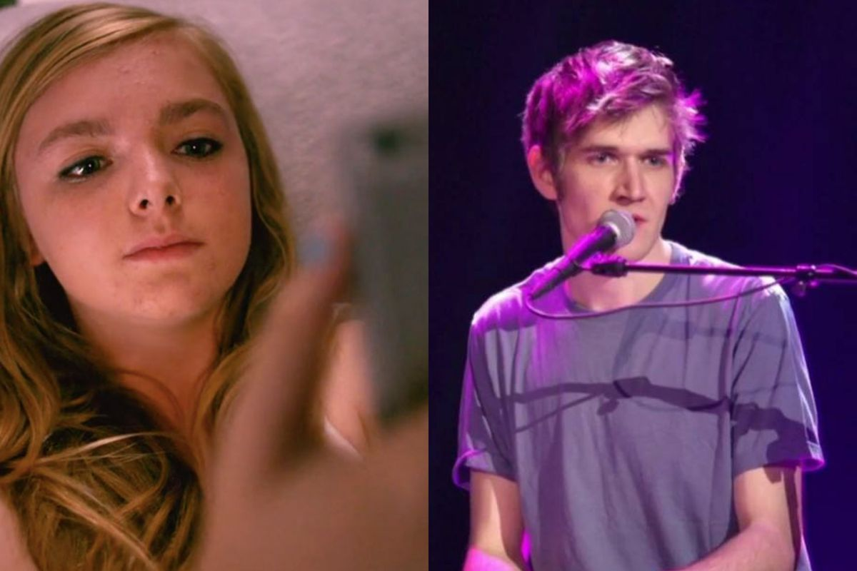 Elsie Fisher in Eighth Grade and director Bo Burnham performing on YouTube