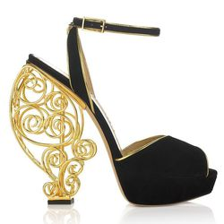 Charlotte Olympia's gold cage Avalon heels