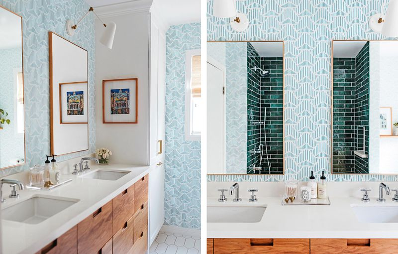 Spring 2021, Before & After Bath: Same Space, Fresh Look, 3⁄4 and front view of vanity
