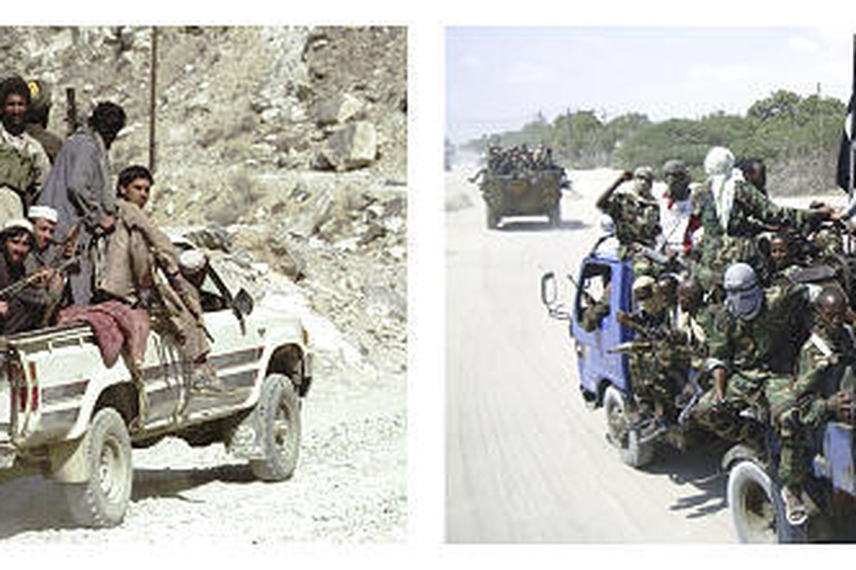 This combination picture shows Taliban militia soldiers in a pickup truck heading towards the frontline north of Surobi, Afghanistan, near Kabul, Oct. 16, 1996, left, and at right, hard-line Islamist Al Shabab fighters riding a truck during a military exe