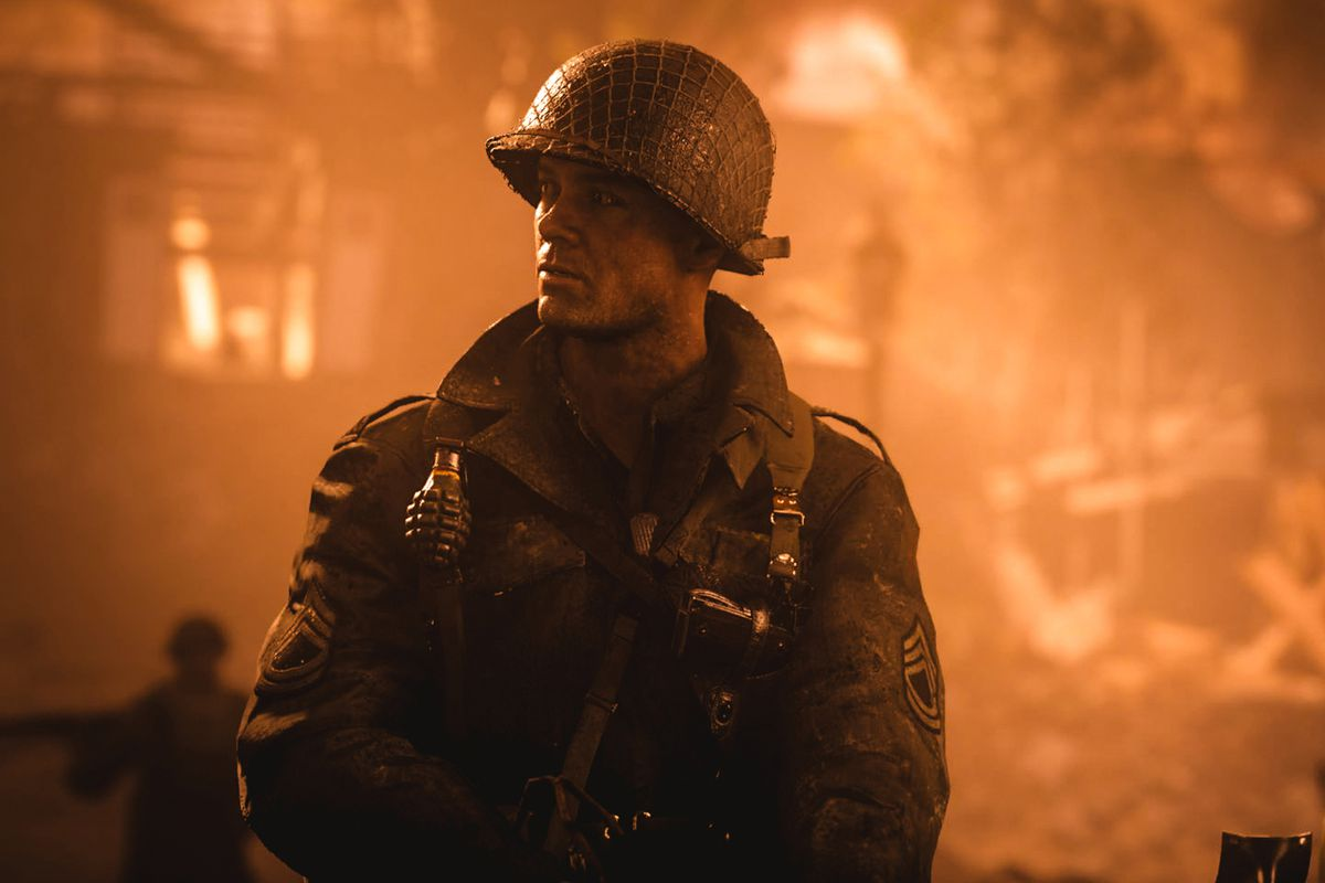 Call of Duty: WWII - soldier in amber light