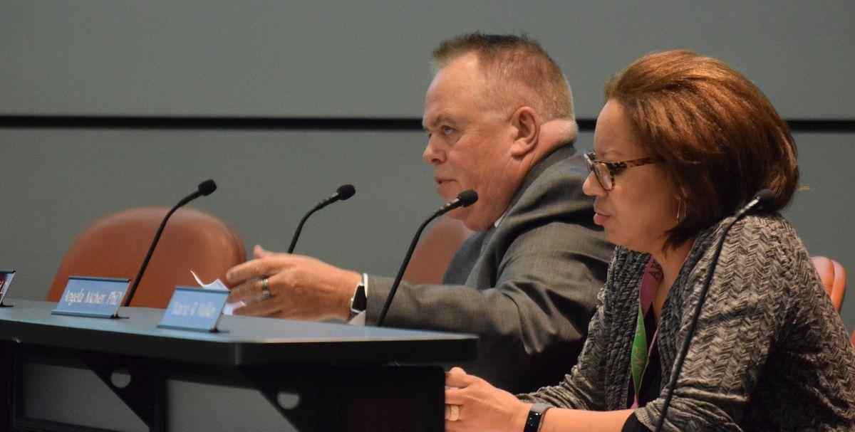 School Board Member Chris McGinley speaks at the June 13 action meeting.