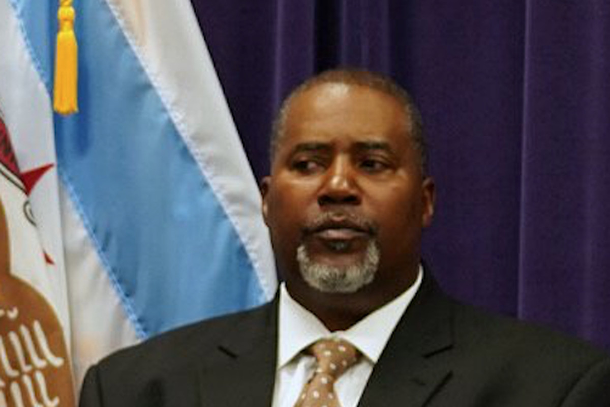 Former Cmdr. Ronald Kimble at a Chicago police news conference in July. Kimble and his boss, Deputy Chief William Bradley, were demoted this week.