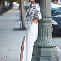 """Chriselle of <a href=""""http://thechrisellefactor.com""""target=""""_blank"""">The Chriselle Factor</a> is wearing an <a href=""""http://us.asos.com/countryid/2/ASOS-Skirt-With-Split-Front-and-PU-Waistband/10m8wa/?iid=2922840&cid=2639&sh=0&pge=0&pgesize=9999&sort=-1&cl"""