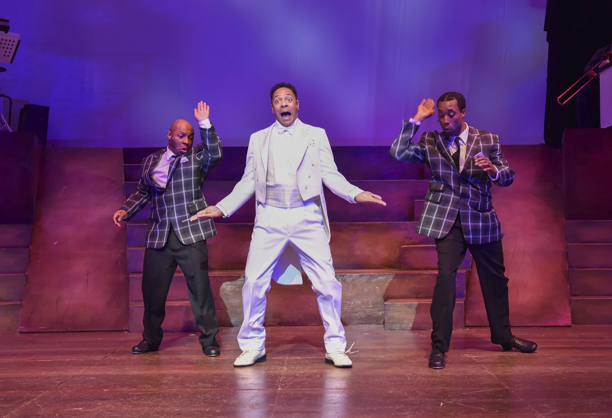 """Vincent Jordan (center) plays Cab Calloway, with Rueben D. Echoles (left) as Harold Nicholas and Rashawn Thompson (right) as Fayard Nicholas in the Black Ensemble Theater production of """"My Brother's Keeper —The Story of the Nicholas Brothers."""" (Photo: Mi"""