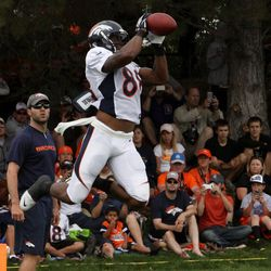 Denver Broncos WR Demaryius Thomas makes a leaping grab during the endzone pass drills at training camp