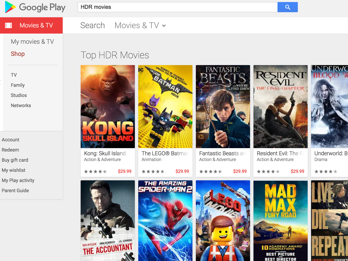 Google Play Movies adds 4K HDR streaming in US and Canada