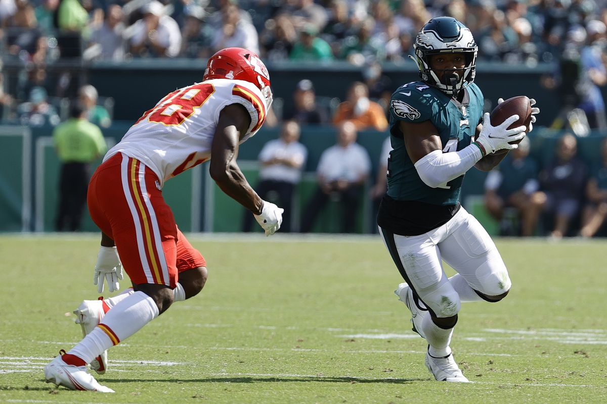 Kenneth Gainwell #14 of the Philadelphia Eagles makes a reception against the Kansas City Chiefs at Lincoln Financial Field on October 03, 2021 in Philadelphia, Pennsylvania.