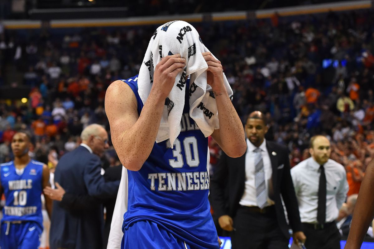 Reggie Upshaw (30) walks off the floor after MTSU fell to Syracuse in the NCAA Tournament.