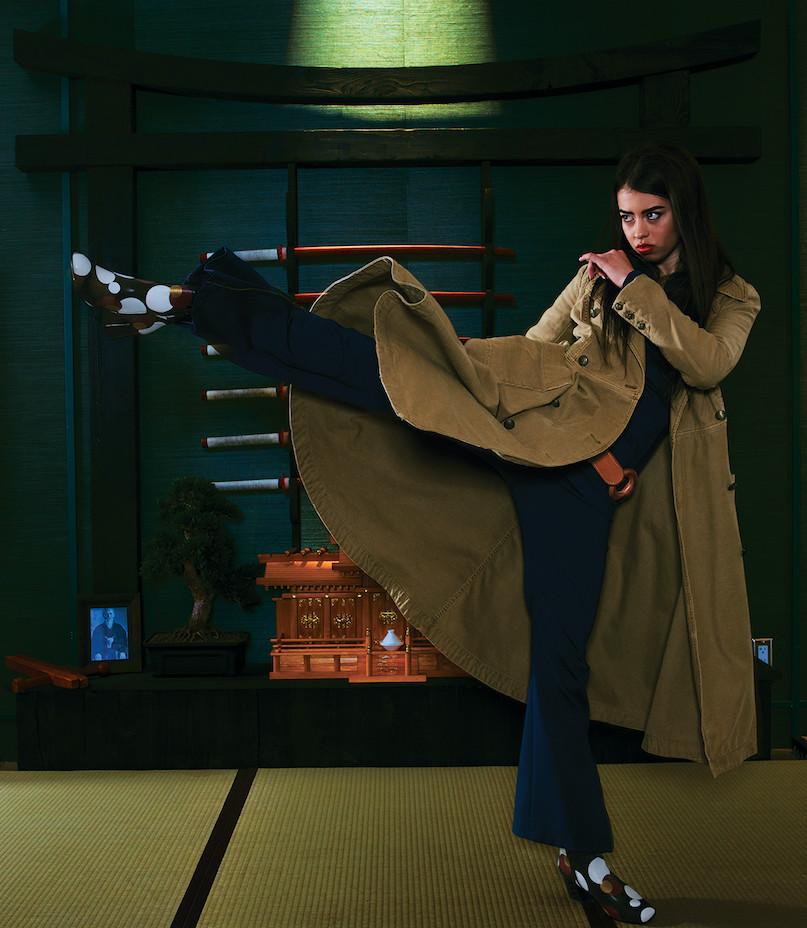Amber Midthunder as Kerry Loudermilk in Legion, wearing a Free People trench coat.