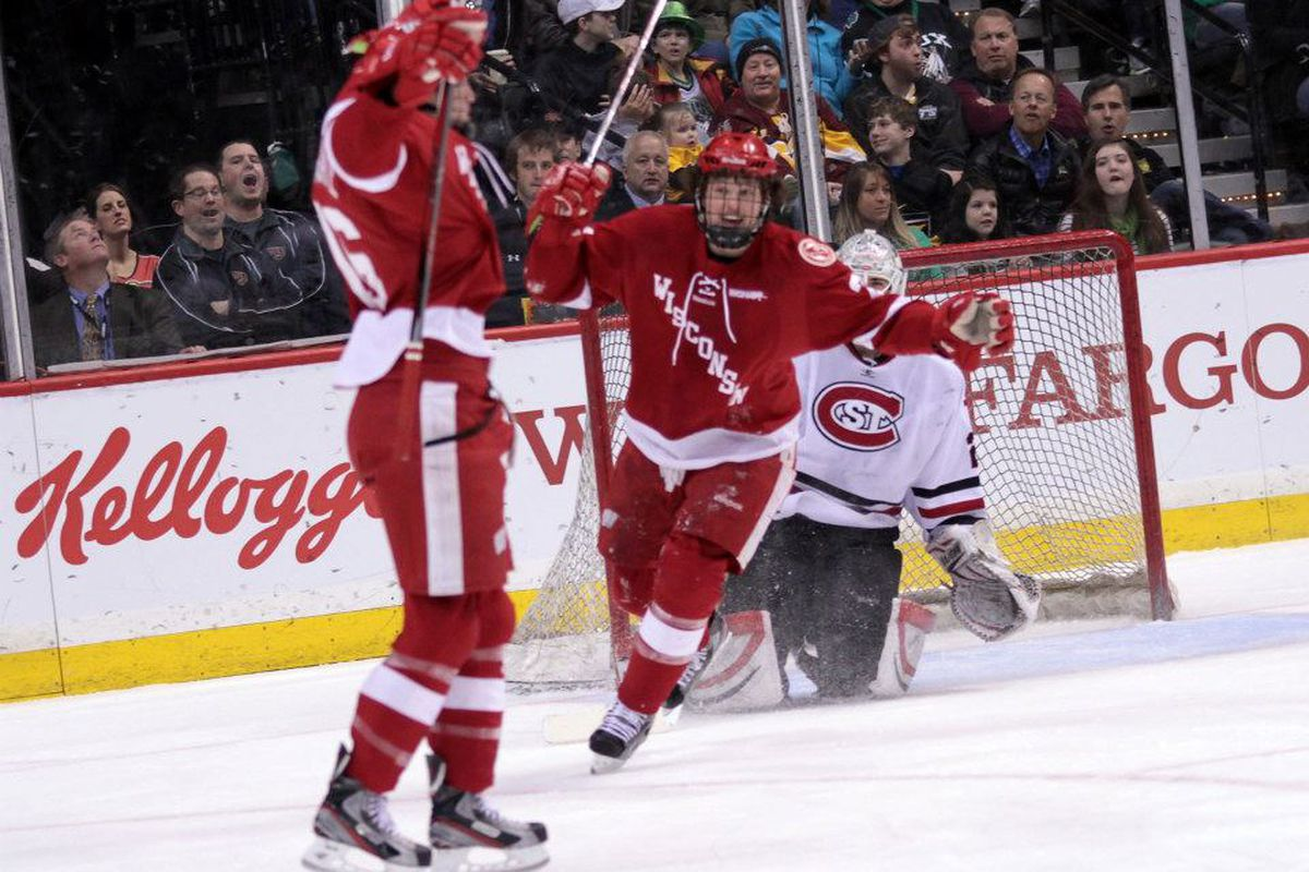 Joseph LaBate reacts after scoring against St. Cloud Friday.