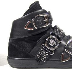 Men's Versace triple-buckle pony-hair and suede shoes