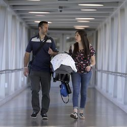 Joseph and Cami Humpherys walk between an imaging appointment and a doctor's appointment for their 5-week-old son, Bennett, who had surgery for spina bifida while still in the womb, at Primary Children's Hospital in Salt Lake City on Friday, Aug. 23, 2019.