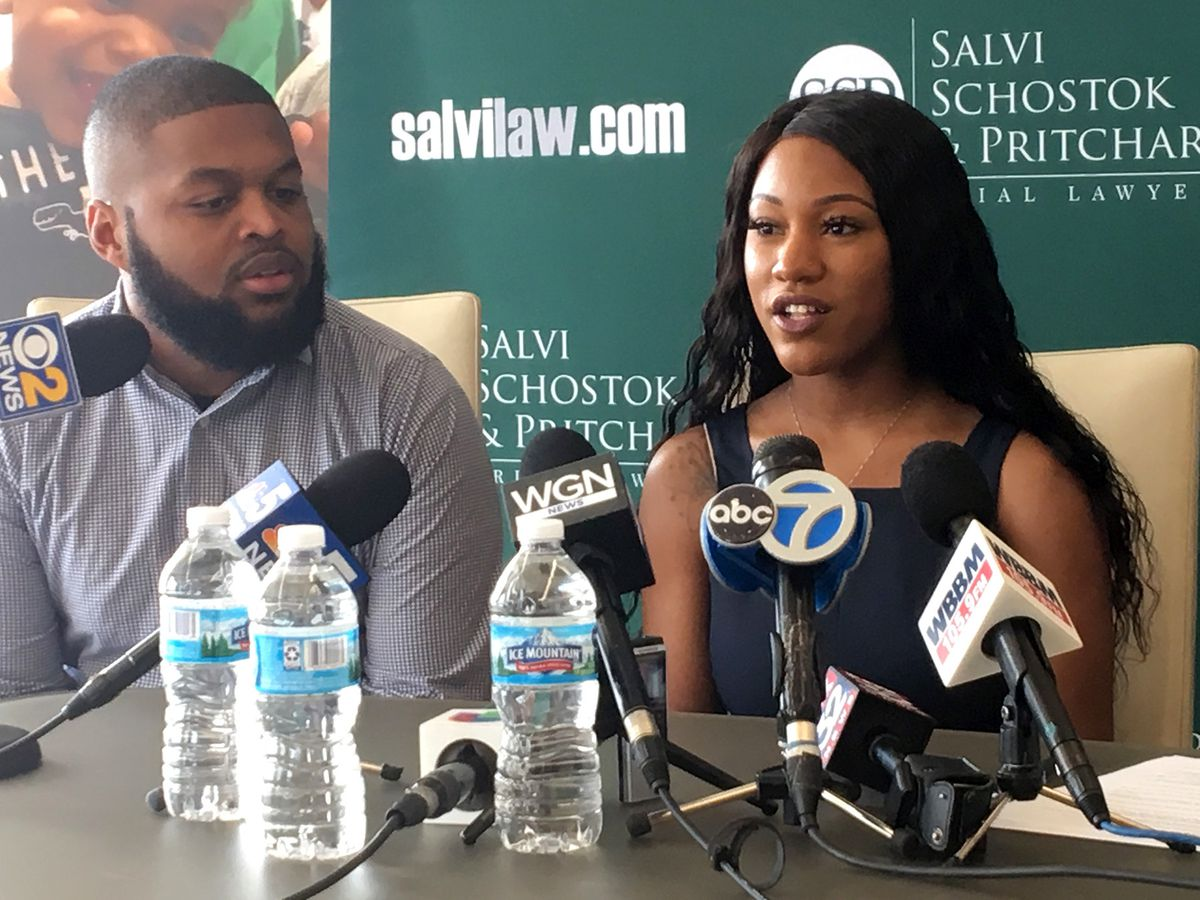 Vincent Clark II and Ebony Clark talk to reporters May 28, 2019, about the lawsuit they filed over the death of their 10-month-old son.
