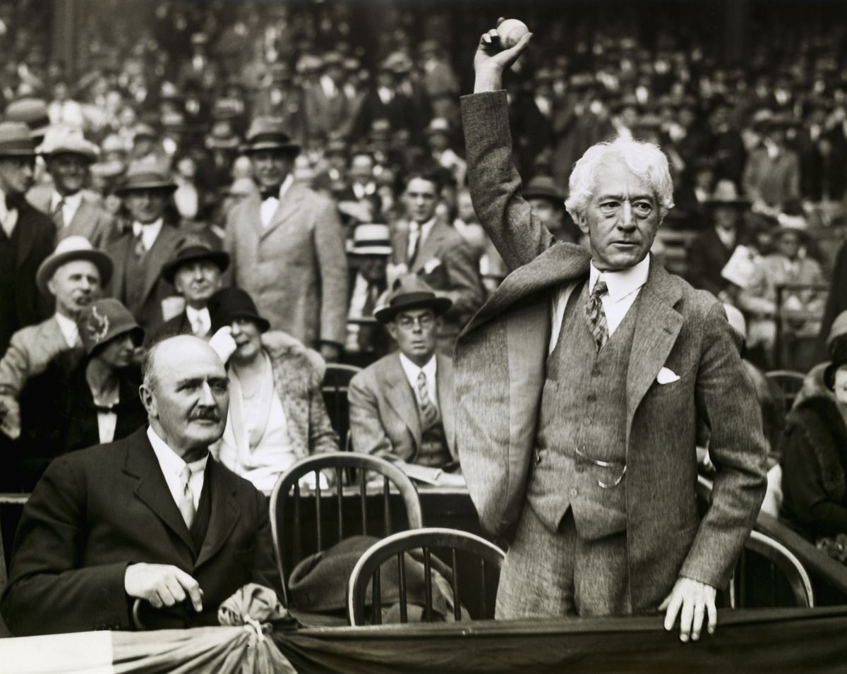 Judge Landis Throwing Out the First Baseball at the Opening of the 1928 World Series