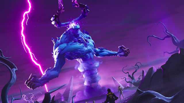 Fortnite's Storm King boss, who has giant horns and swirls of wind, rain, and lighting around him