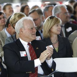 Spence Eccles applauds as the University of Utah breaks ground on the Beverley Taylor Sorenson Arts & Education Complex, a new interdisciplinary facility, in 2011.