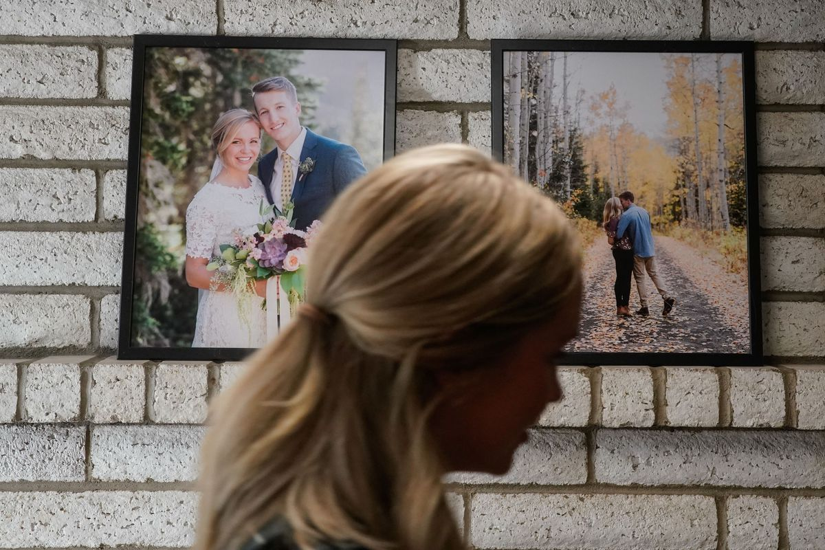 Haley Jeppson passes by framed photos of her wedding to Brookston at her house in Provo on Friday, Oct. 1, 2021. The American Family Survey looks at marriage, relationships, finances, education and more through the lens of attitudes and how people actually live.