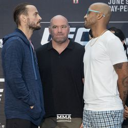 CM Punk and Mike Jackson square off at UFC 225 media day.