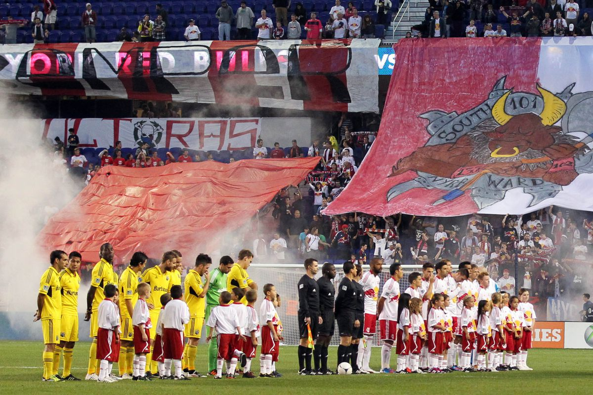 Sep 15, 2012; Harrison, NJ, USA;  New York Red Bulls and Columbus Crew before the game at Red Bulls Arena.  Mandatory Credit: Anthony Gruppuso-US PRESSWIRE