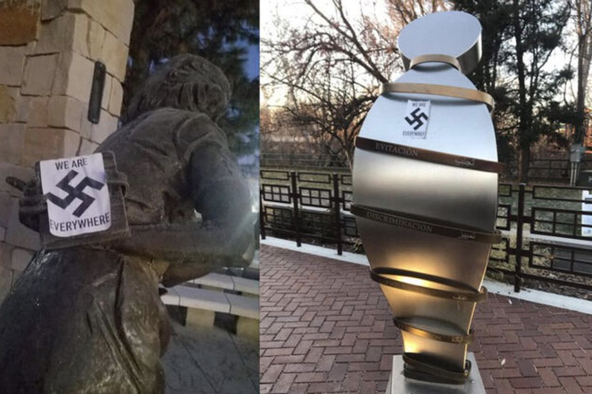defaced Anne Frank statue