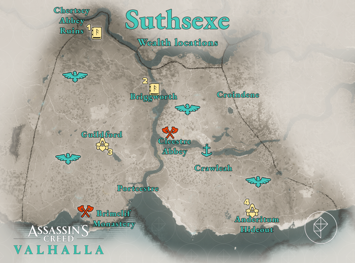 Suthsexe Wealth locations map