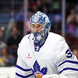 Joseph Woll and the Toronto Marlies wear a small Scotiabank patch on their jerseys.