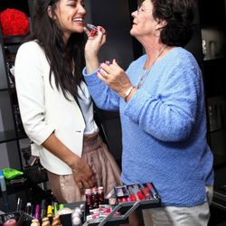 Jessica Szohr getting a touch-up